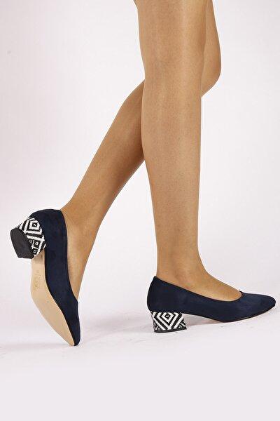 Fori Lacivert Süet Topuklu Ayakkabı