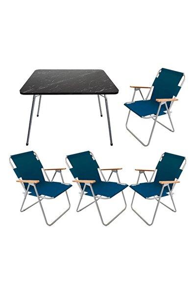 Granit Desenli Katlanır Masa Ve 4 Adet Katlanır Sandalye Kamp Seti Bahçe Balkon Takımı Lacivert