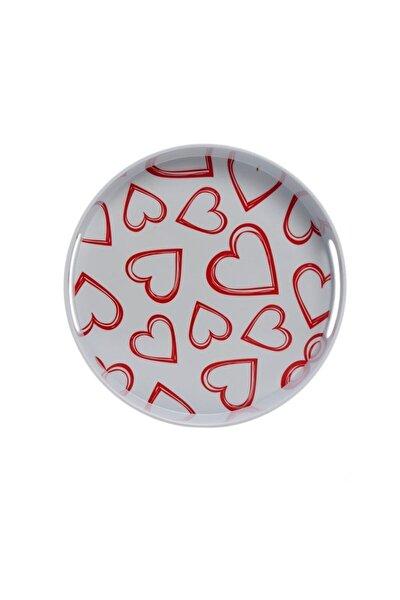 Melamin Yuvarlak Tepsi Beyaz Kalp Desen 30x30x5cm