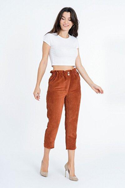 Beli Fırfırlı Kadife Boyfrend Pantolon K-3845 Kiremit