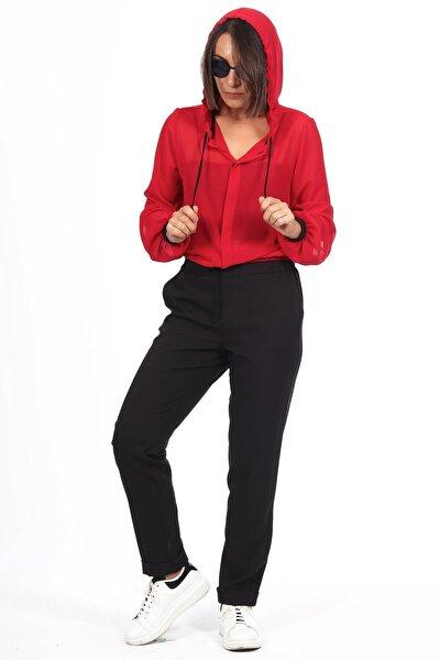 Kırmızı Kapşon Detay Bustiyerli Şifon Bluz