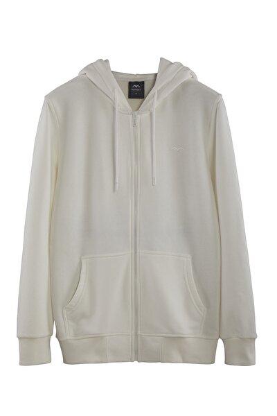 Kadın Beyaz Kapşonlu Fermuarlı Basic Sweatshirt