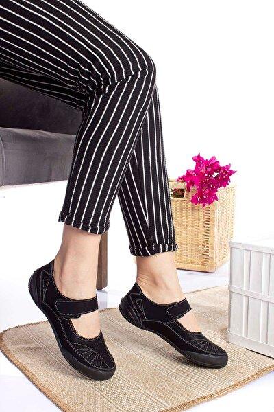 Ortopedik Ped Siyah Kot Kadın Ayakkabı