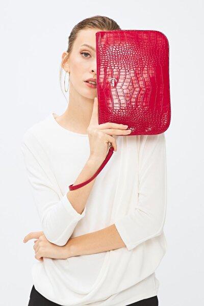 Kadın Basic Clutch Çanta Kroko Timsah Desen Kırmızı 214002