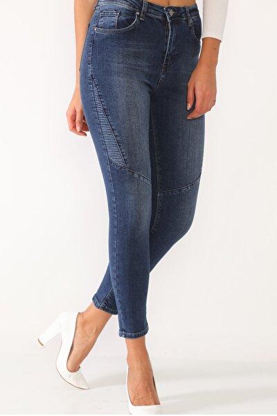 Mavi Likralı Yüksek Bel Parçalı Kot Pantolon