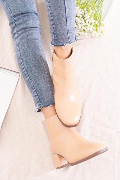 Kadın Bej Deri Yuvarlak Topuklu Ayakkabı