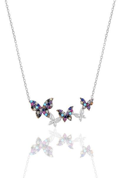 Gümüş Renkli Rodyumlu Uçuşan Kelebekler Kolye