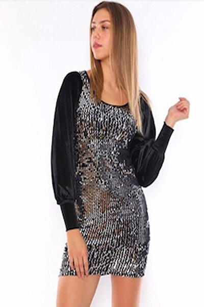 Pullu Siyah Kadife Kadın Kalem Elbise