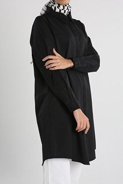 Siyah Büyük Beden Basıc Gömlek Tunik