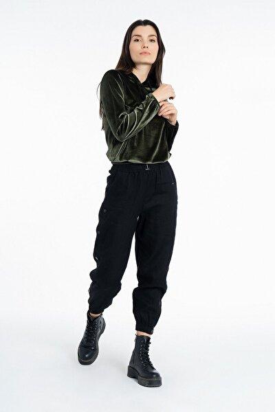 Kadın Siyah Yanları Çıtçıtlı Keten Pantolon K-3810