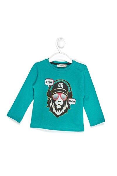 """3124 Erkek Bebek """"maymun"""" Baskılı Omuzu Patlı Sweatshirt"""