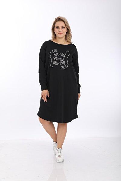 Kadın Büyük Beden Siyah Tiyatro Desen Taşlı Elbise