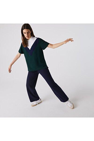 Kadın Blok Desenli Polo Yaka Kısa Kollu Yeşil Gömlek