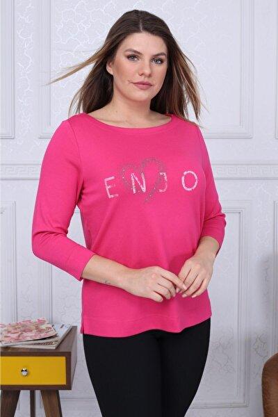 Kadın Enjoy Baskı Kayık Yaka Bluz