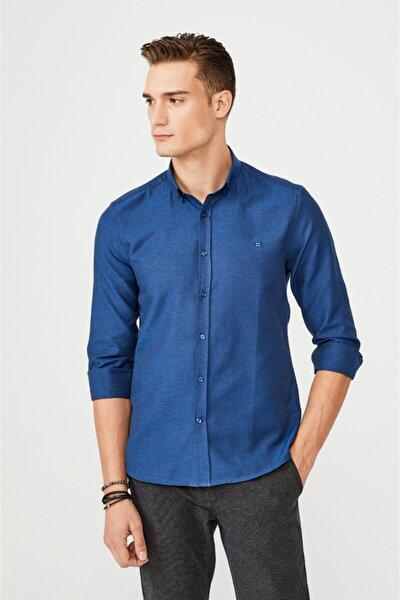 Erkek Lacivert Oxford Düğmeli Yaka Slim Fit Gömlek E002000