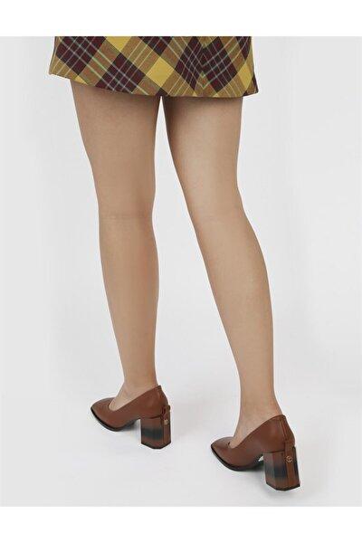 Brianna Hakiki Deri Kadın Taba Topuklu Ayakkabı