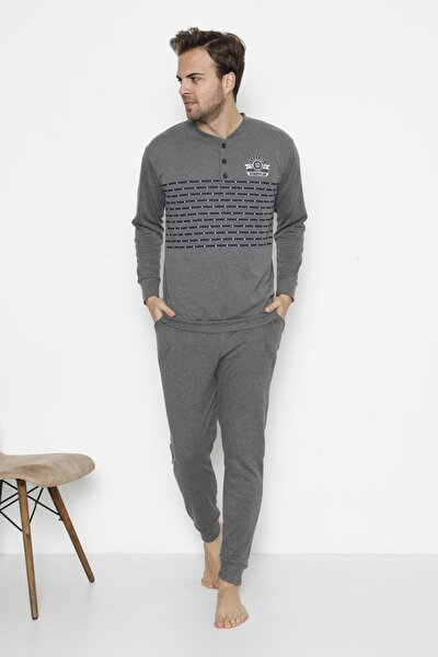 Erkek Uzun Kollu Cepli Ve Manşetli Kışlık Pijama Takımı 9001
