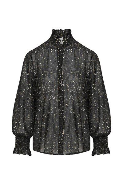 Kolları Içten Elastikli Desenli Bluz