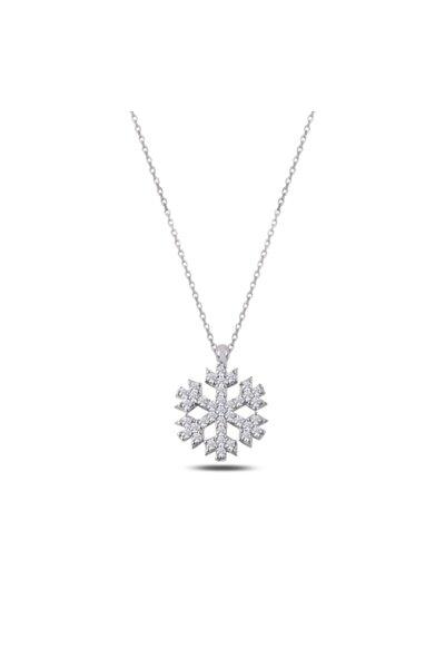 Kar Tanesi Model Bayan Gümüş Kolye