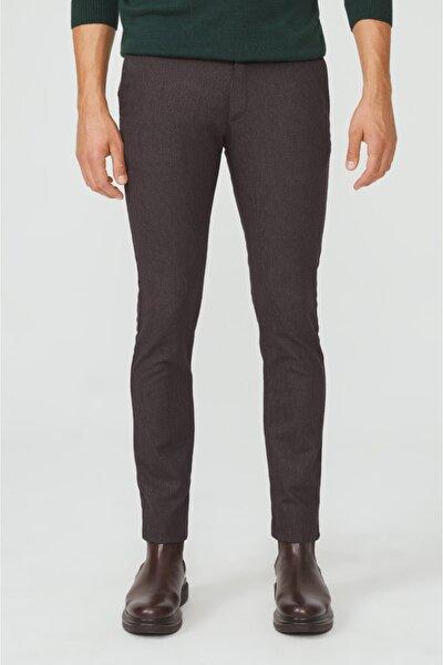 Erkek Kahve Yandan Cepli Armürlü Slim Fit Pantolon A02y3043