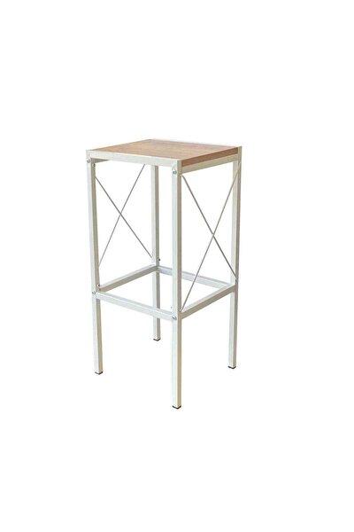 Beyaz Bar Mutfak Sandalyesi Bar Taburesi 5160