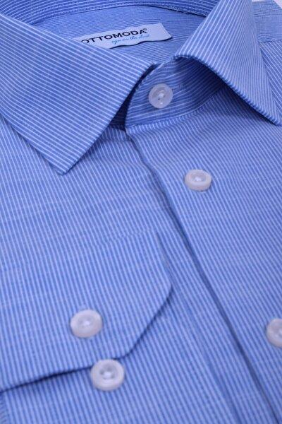 Beyaz Mavi Çizgili Uzun Kollu Cepli Erkek Klasik Gömlek