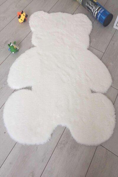 Panda Dekoratif Kaymaz Taban Beyaz Paspas 70x100