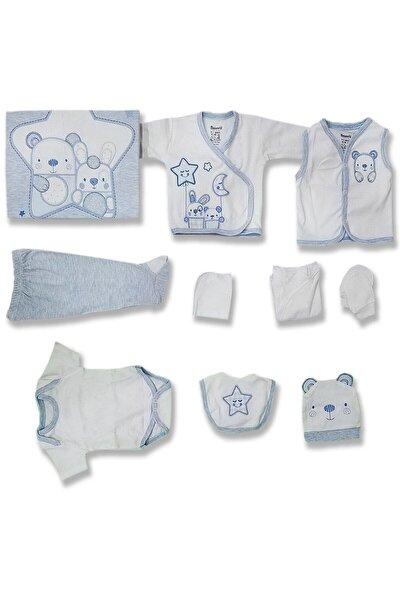 Erkek Bebek Beyaz Friends Yıldızlı Aylı Hastane Çıkış Seti