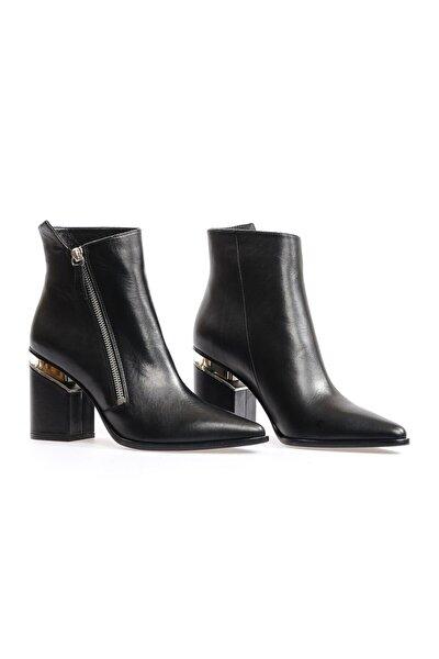 Siyah Deri Kadın Topuklu Bot