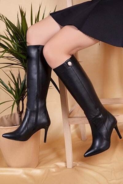 Hakiki Deri Topuklu Uzun Çizme Siyah 35 Brgl.4363