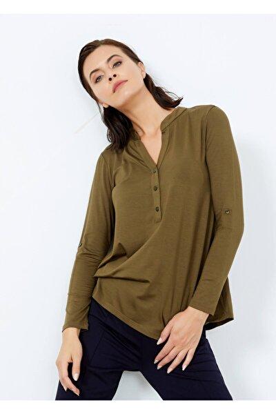 Kadın Haki Yaka Düğmeli Kol Detaylı Bluz