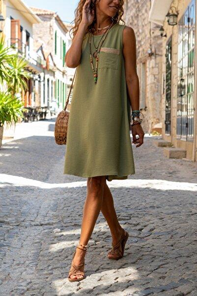 Kadın Haki Cebi Hasır Detaylı A Kesim Airobin Elbise Gk-bstkby1