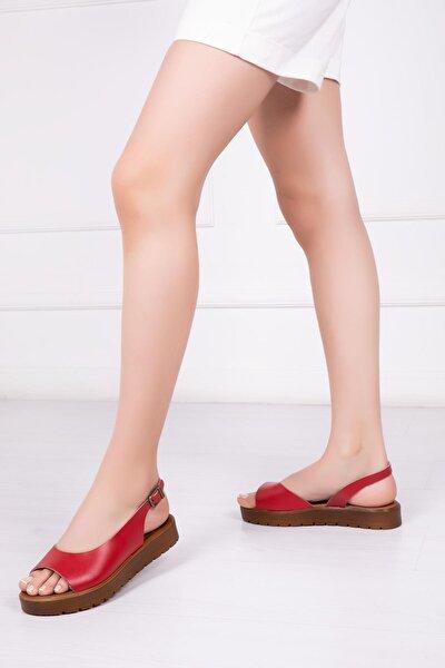 Hakiki Deri Kırmızı Kadın Deri Sandalet Dp-0094