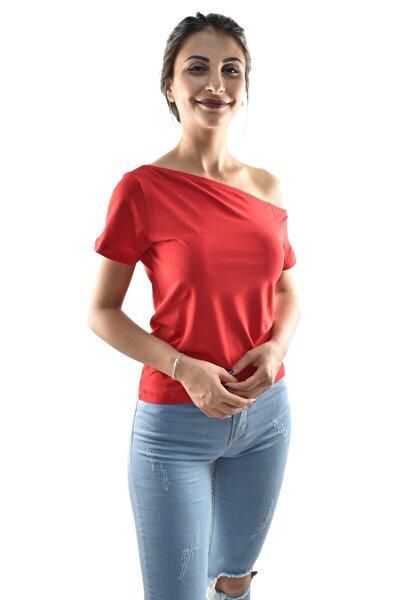 Zidan 1209 Pamuklu Kayık Yaka Kısa Kol Kadın T-shırt - Kırmızı