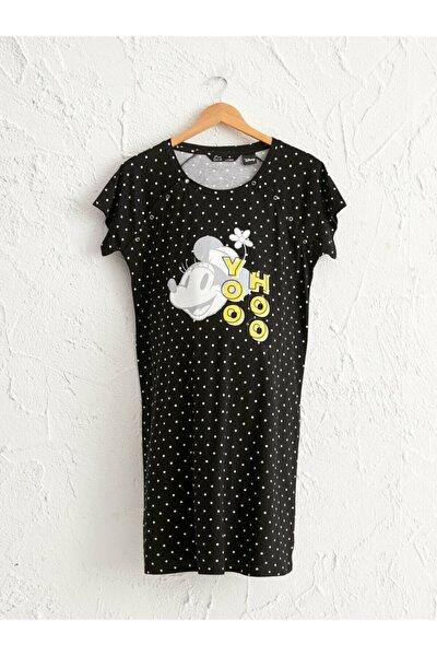 Minnie Mouse Kadın Siyah Baskılı Lqj Hamile Gecelik