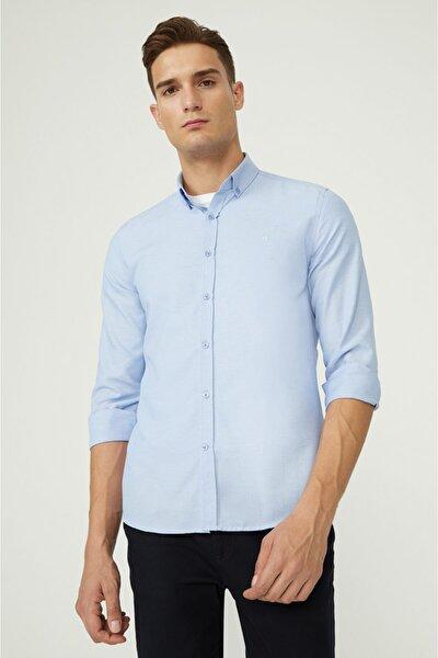 Erkek Mavi Oxford Düğmeli Yaka Slim Fit Gömlek E002000