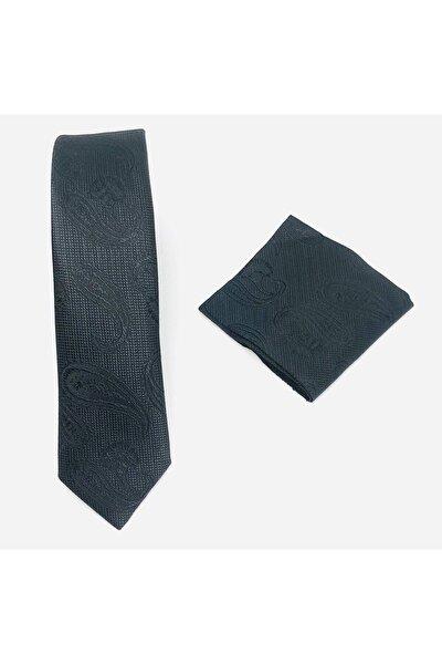 Siyah Şal Desenli Mendilli Kravat