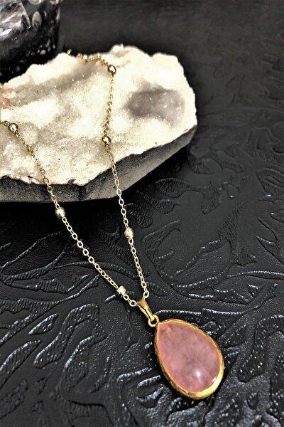 Dr Stone Doğaltaş Pembe Kuvars Taşı El Yapımı Altın Kaplama Kadın Kolye Dkrb14