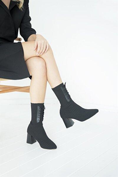 Marry Kadın Topuklu Streç Triko Bot Siyah