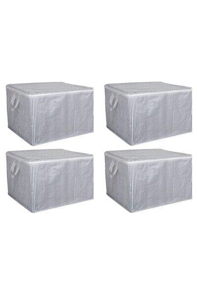 4 Adet - Sandık Tipi Hurç Mini - Çamaşır&kazak Vb. Hurcu 45x40x30 - Leke Tutmaz Çizgili Model