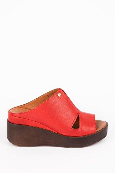 Hakiki Deri Kadın Dolgu Topuk Terlik - Kırmızı C1407k
