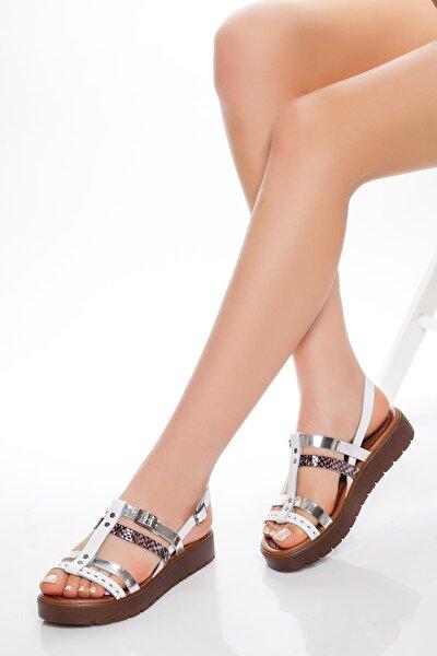 Deripabuc Hakiki Deri Beyaz Kadın Deri Sandalet Rma-3111