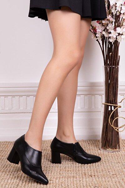 Hakiki Deri Siyah Kadın Topuklu Deri Ayakkabı Shn-0102