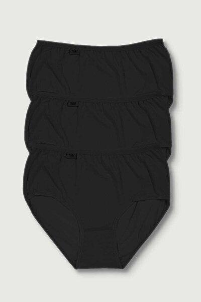 Kadın Siyah 3'lü Paket Likralı Bato Külot Elf568t0924ccm3 0924