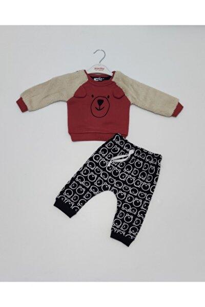 Erkek Bebek Kışlık Üç Iplik Şardonlu Kırmızı-siyah Renk Ikili Tak
