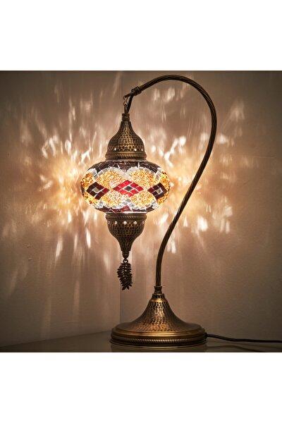 El Yapımı Mozaik Masaüstü Lamba Renkli Otantik Masa Komodin Gece Lambası
