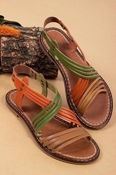 Hakiki Deri Multi-2 Kadın Deri Sandalet Dp28-0863