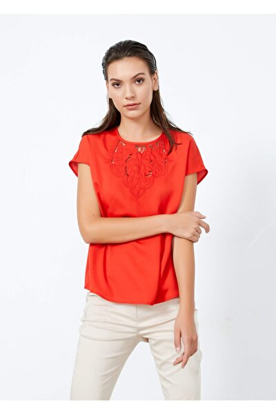 Kadın Nar Çiçeği Ön Detaylı Bluz