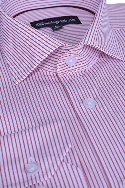 Broadway Uzun Kollu Bordo Çizgili Erkek Gömlek