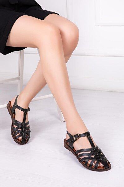 Hakiki Deri Siyah Kadın Deri Sandalet Dp-0067
